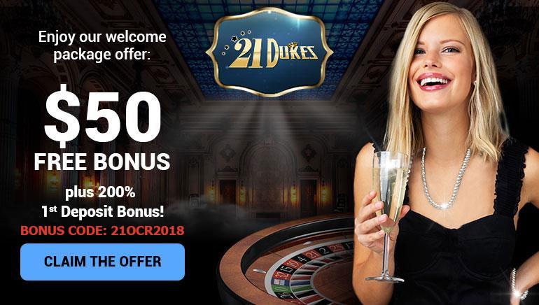 Een Royale Welkom: $50 Gratis Bonus bij 21Dukes Casino