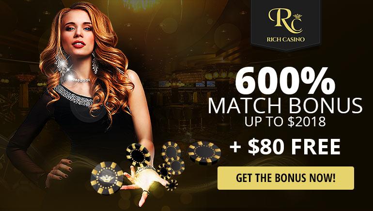 Start Je 2018 in Stijl met Gratis $80 & een 600% Exclusive Bonus bij Rich Casino